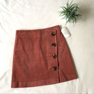 NWT Altar'd State • Rust Corduroy Button Skirt